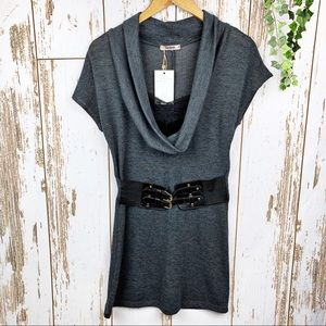Cowl Neck Lace Peek-a-boo Body Con Belted Dress